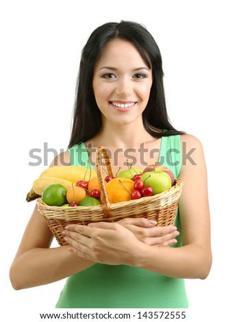 Girl with fresh fruits isolated on white