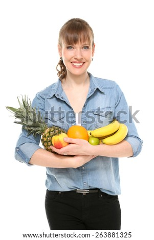 girl with fruits - stock photo