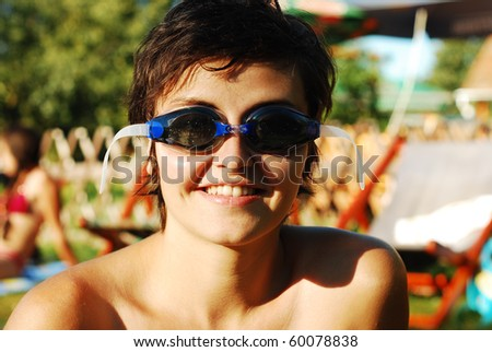 girl with goggles - stock photo