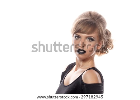 Girl with gothic makeup and hairstyle. Isolated on white background. Carnival. - stock photo