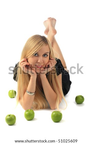 girl with green apple isolated - stock photo