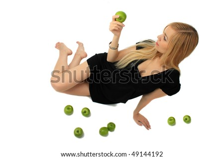 girl with green apple isolated background - stock photo