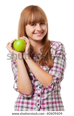 girl with green apple on white background