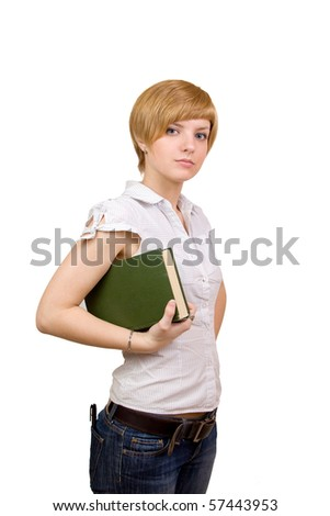 Girl with green book in hands