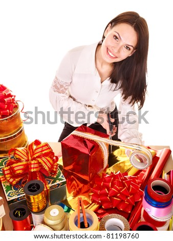 Girl with group of color gift box.. Isolated.
