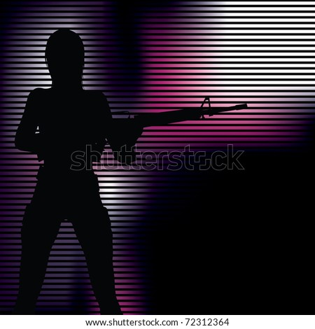 girl with gun silhouette (also available vector version)