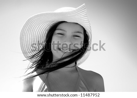 Girl with hat - stock photo