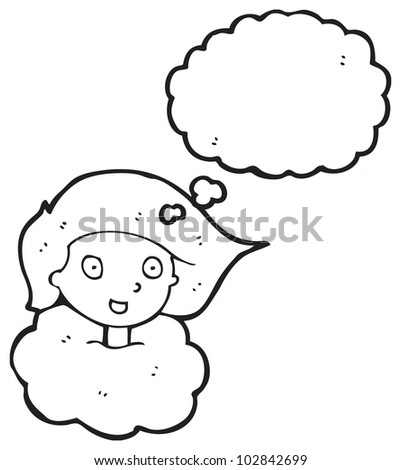 girl with head in clouds cartoon