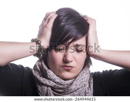 girl with headache incessant - stock photo