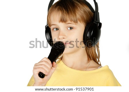 girl with headphones and a microphone - stock photo