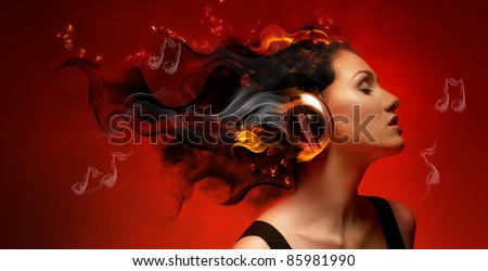 girl with headphones in the club - stock photo