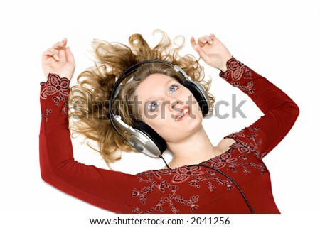 girl with headphones on a white background