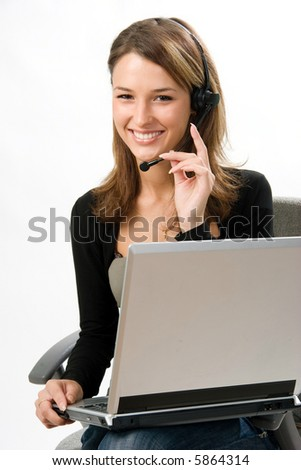 girl with headset - stock photo