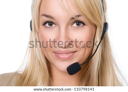 Girl with Headset.Isolated over white background - stock photo