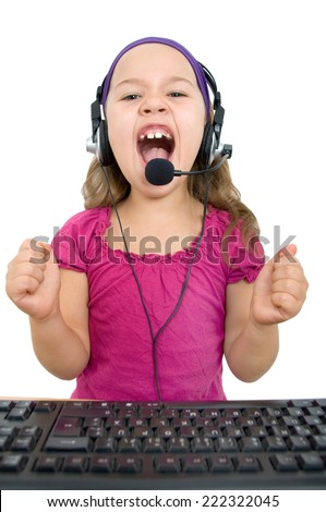 Girl with headset screams at the camera - stock photo