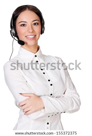 Girl with headset, white background, copyspace - stock photo