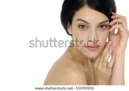 girl with health skin of face