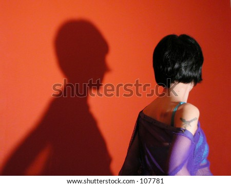 girl with her shadow - stock photo