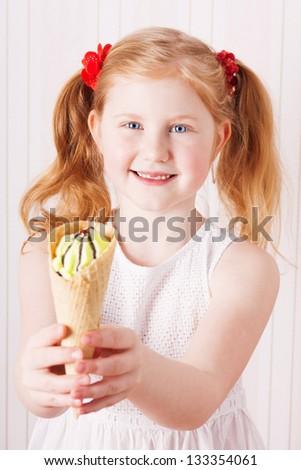 girl with ice-cream - stock photo