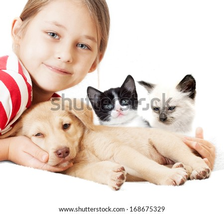 girl with kitten and puppy - stock photo