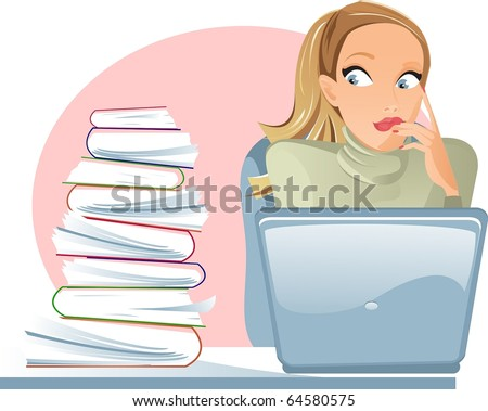 Girl with laptop in horror from the number of documents - stock photo