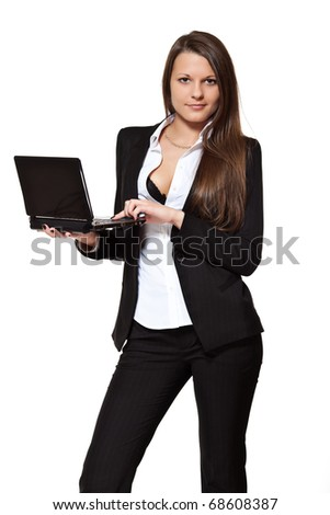 girl with laptop on white background - stock photo