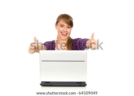 Girl with laptop showing thumbs up