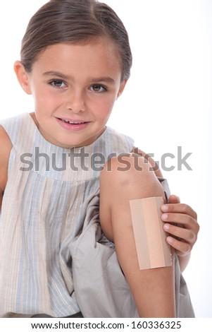 Girl with leg injured - stock photo