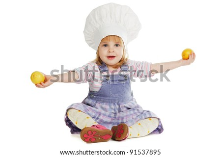 girl  with lemons - stock photo