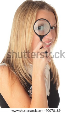 girl with lens on a white background