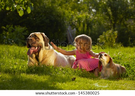 Girl with little and large dogs in the garden - stock photo