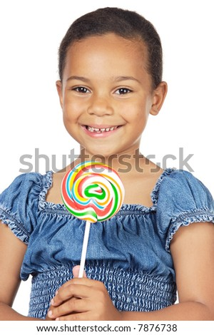 girl with lollipop isolated on white background - stock photo