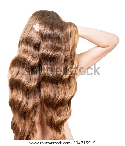 Girl with long curly hair isolated on white background.