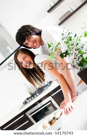 Girl with long hair and boy - stock photo
