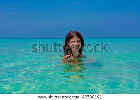 girl with long hair in the sea
