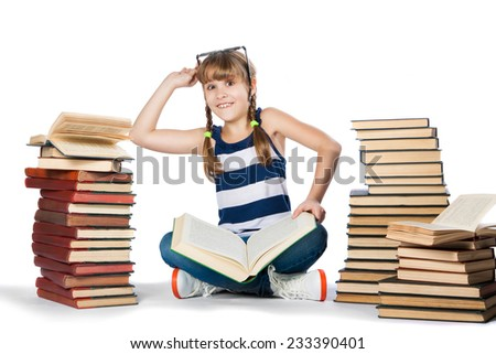 girl with lot of books, isolated on white with