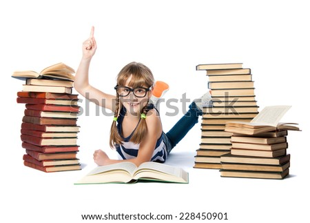 girl with lot of books, isolated on white with a raised finger