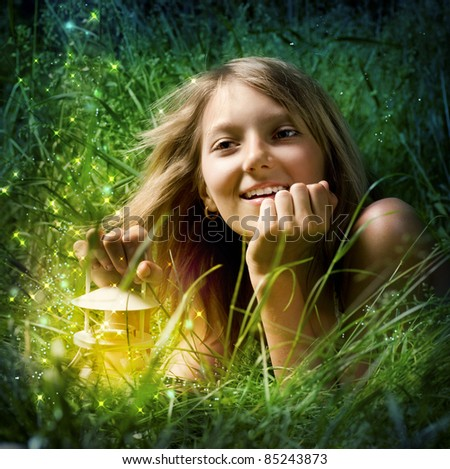 Girl with Magic Lamp.Night Miracle - stock photo