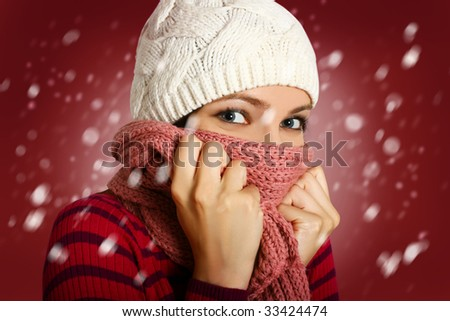 girl with many snowflakes - stock photo