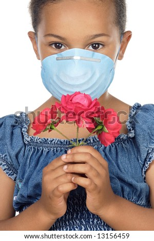 Girl with mask and flower, no allergies - stock photo
