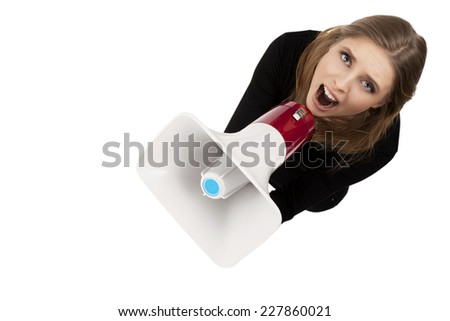 girl with megaphone isolated on a white background  - stock photo
