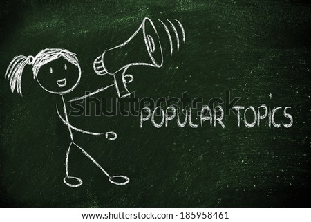 girl with megaphone, metaphor of sharing and spreading your message  - stock photo
