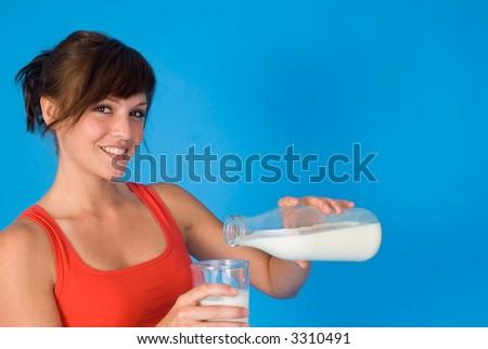 girl with milk - stock photo