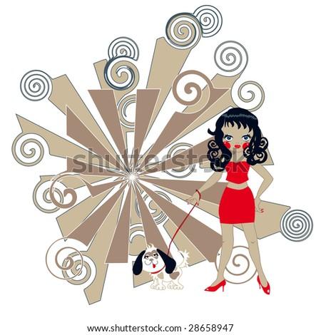 girl with mini skirt walking her little dog - stock photo