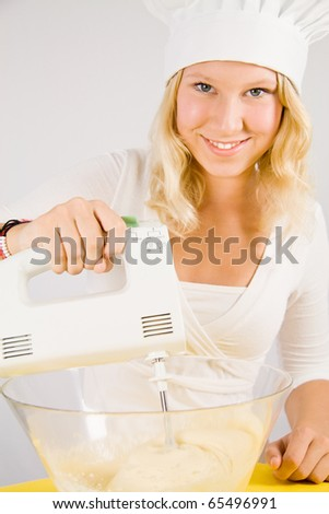 girl with mixer - stock photo