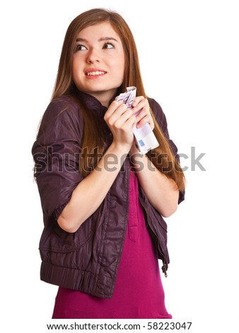 Girl with money - stock photo
