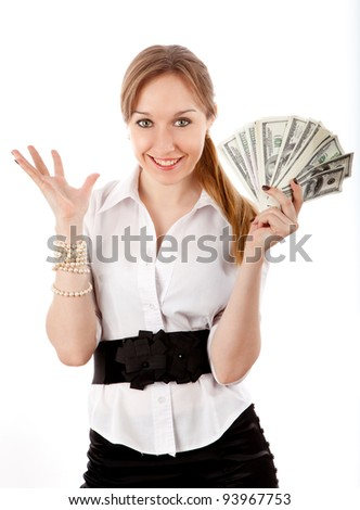 girl with money isolated in white