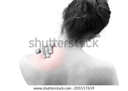 Girl with neck pain - stock photo