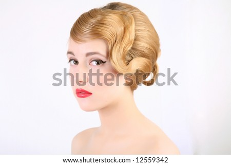 girl with old style coiffure - stock photo