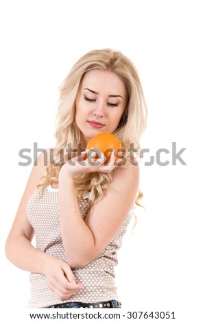 girl with orange on a white background
